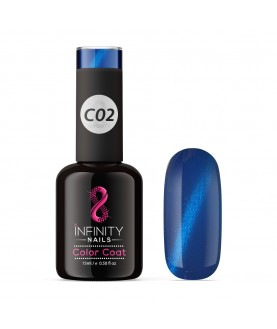 C02 INFINITY NAILS Cat Eye Blue Metallic nail gel polish