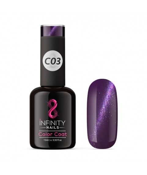C03 INFINITY NAILS Cat Eye Purple Metallic nail gel polish