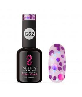 G02 INFINITY NAILS Purple Light Blue Glitter nail gel polish