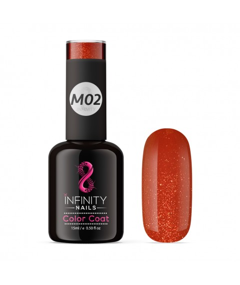 M02 INFINITY NAILS Red Metallic Glitter nail gel polish
