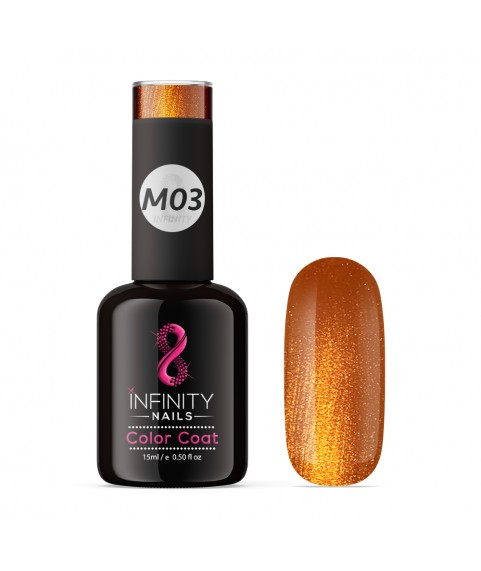 M03 INFINITY NAILS Orange Metallic Glitter nail gel polish