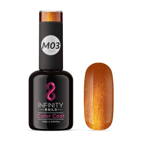 M03 INFINITY NAILS Orange Metallic Glitter nail gel polish