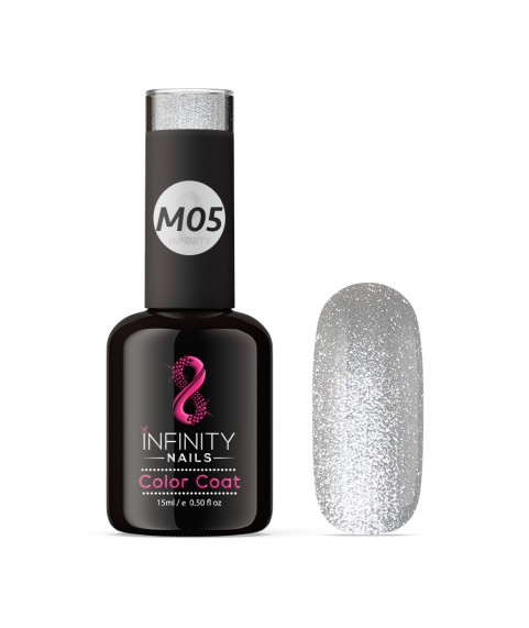 M05 INFINITY NAILS Silver Metallic Platinum nail gel polish