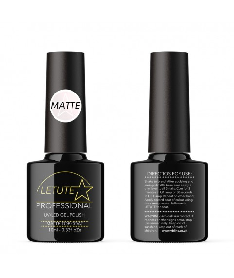LETUTE Matte Top Coat - Professional UV/LED Soak Off Nail Gel Polish 10ml