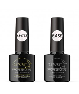LETUTE Matte Top and Base Coat - Professional UV/LED Soak Off Nail Gel Polish