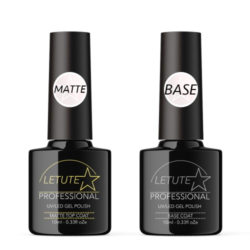 LETUTE Matte Top and Base Coat - Professional UV/LED Soak Off Nail Gel Polish