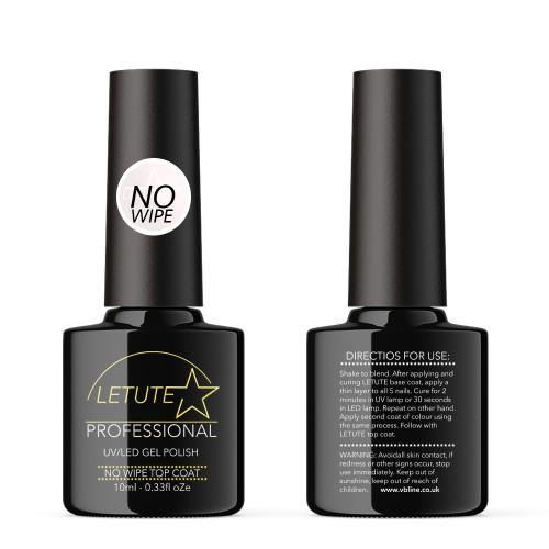 LETUTE No Wipe Top Coat - Professional UV/LED Soak Off Nail Gel Polish 10ml