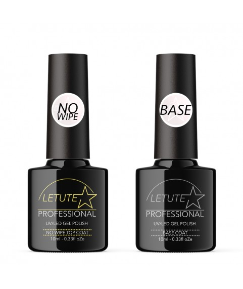 LETUTE No Wipe Top and Base Coat - Professional UV/LED Soak Off Nail Gel Polish