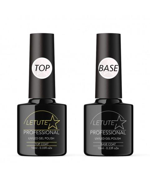 LETUTE Top and Base Coat - Professional UV/LED Soak Off Nail Gel Polish 10ml