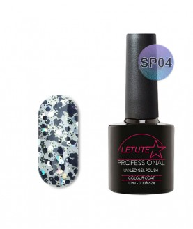 SP04 LETUTE Black Silver Glitter SuperStar Series Soak Off Gel Nail Polish 10ml