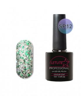 SP12 LETUTE Green Silver Glitter SuperStar Series Soak Off Gel Nail Polish 10ml