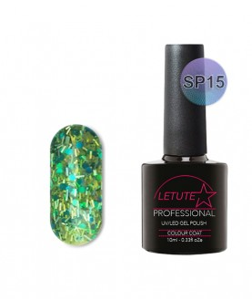 SP15 LETUTE Green Silver Glitter SuperStar Series Soak Off Gel Nail Polish 10ml