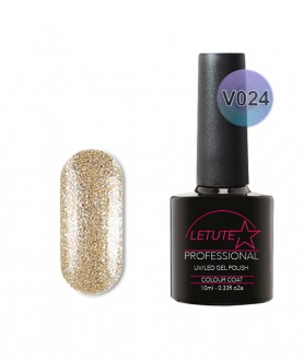 V24 LETUTE Brown Pearl Gold Glitter VIP V Series Soak Off Gel Nail Polish 10ml