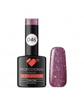 046 VB Line Purple Silver Glitter gel nail polish