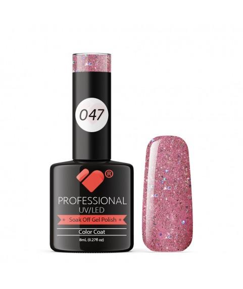 047 VB Line Rose Pinky Silver Glitter gel nail polish
