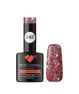 048 VB Line Dark Rose Pink Silver Glitter gel nail polish