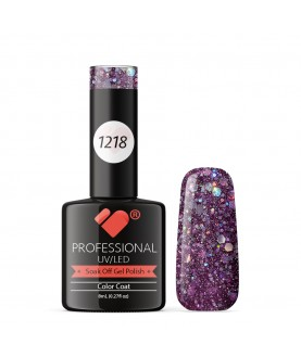 1218 VB Line Purple Silver Glitter gel nail polish