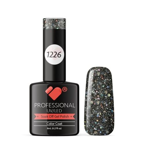 1226 VB Line Black Diamonds Glitter gel nail polish
