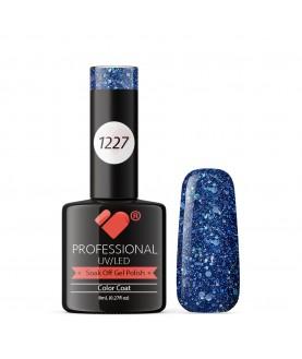 1227 VB Line Dark Blue Silver Glitter gel nail polish