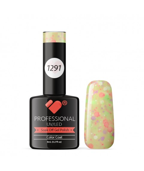 1291 VB Line Yogurt Hot Yellow Neon Glitter gel nail polish