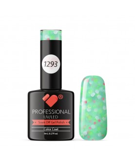1293 VB Line Yogurt Green Neon Glitter gel nail polish
