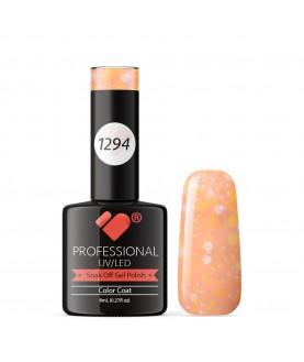 1294 VB Line Yogurt Orange Neon Glitter gel nail polish