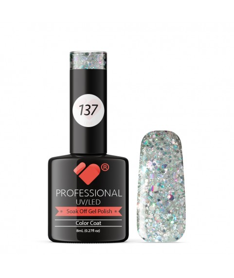 137 VB Line Transparent Silver Glitter gel nail polish