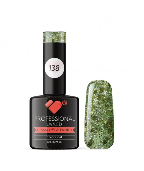 138 VB Line Transparent Green Glitter gel nail polish