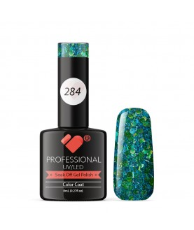 284 VB Line Green Glitter gel nail polish