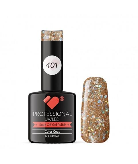 401 VB Line Beige Silver Glitter gel nail polish