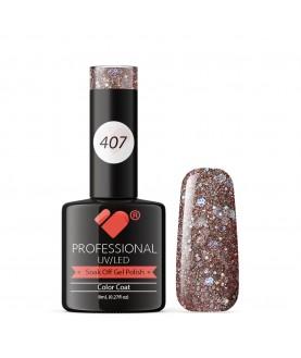 407 VB Line Grey Pink Silver Glitter gel nail polish