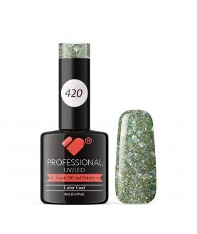 420 VB Line Light Grey Silver Glitter gel nail polish