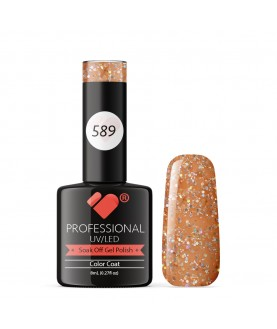 589 VB Line Light Orange Yellow Glitter gel nail polish