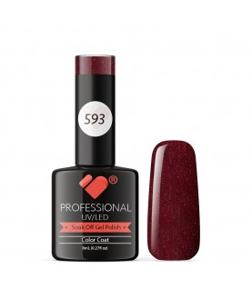 593 VB Line Dark Red Burgundy Metallic gel nail polish