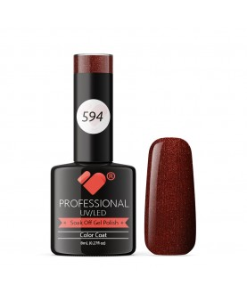 594 VB Line Lava Brown Burgundy Metallic gel nail polish