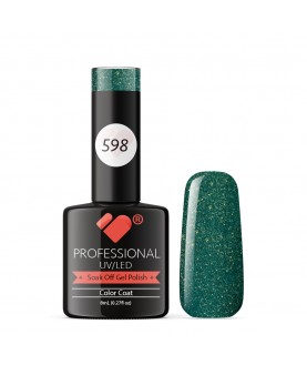 598 VB Line Oliver Green with Gold gel nail polish