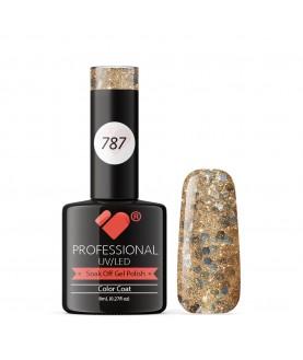 787 VB Line Gold Cooper Glitter gel nail polish