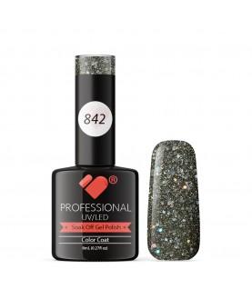842 VB Line Dark Grey Silver Glitter gel nail polish