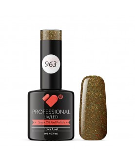 963 VB Line Brown Gold Green Glitter gel nail polish