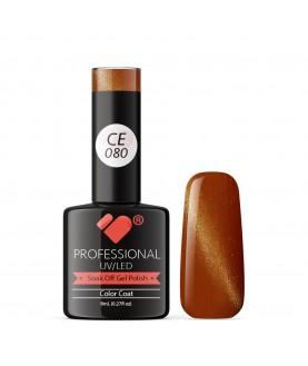 CE080 VB Line Cat Eye Brown Metallic gel nail polish