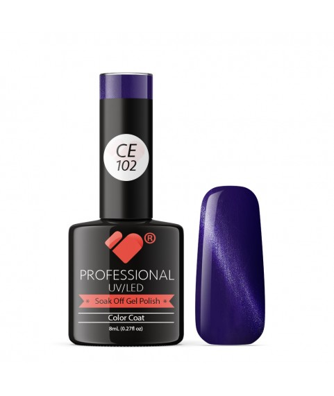 CE102 VB Line Cat Eye Purple Metallic gel nail polish