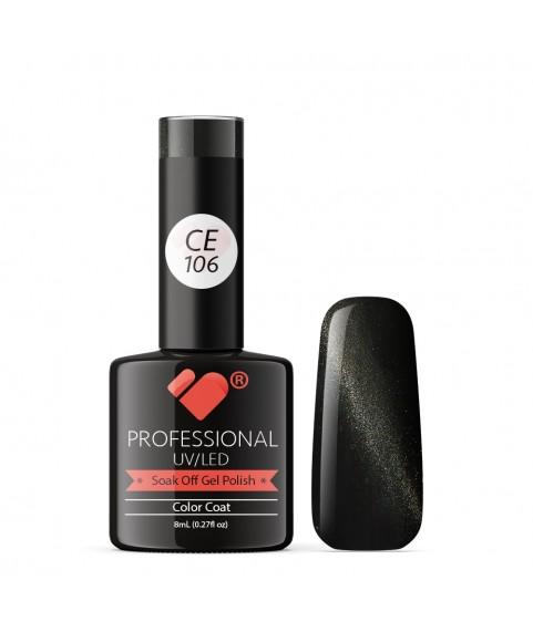 CE106 VB Line Cat Eye Black Metallic gel nail polish