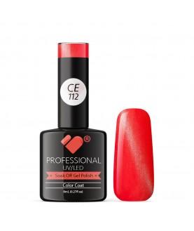 CE112 VB Line Cat Eye Red Coral Metallic gel nail polish