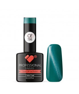 CE136 VB Line Cat Eye Green Metallic gel nail polish