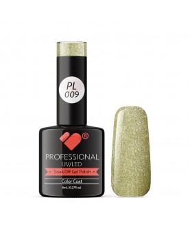 PL009 VB Line Platinum Light Green Gold Metallic gel nail polish