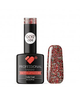 QCYZ-004 VB Line Diamond Red Silver Glitter gel nail polish