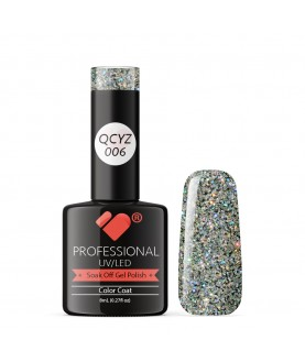 QCYZ-006 VB Line Diamond White Silver Glitter gel nail polish