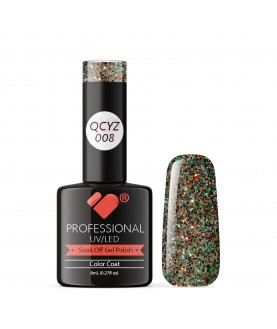 QCYZ-008 VB Line Diamond Gold Silver Glitter gel nail polish
