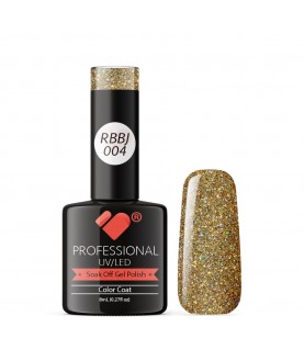 RBBJ-004 VB Line Rainbow Gold Glitter gel nail polish