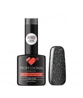 RBBJ-005 VB Line Rainbow Black Glitter gel nail polish